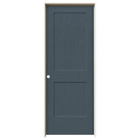 jeld wen 30 0 in x 80 in smooth 2 panel solid core jeld wen 30 in x 80 in monroe denim stain right hand