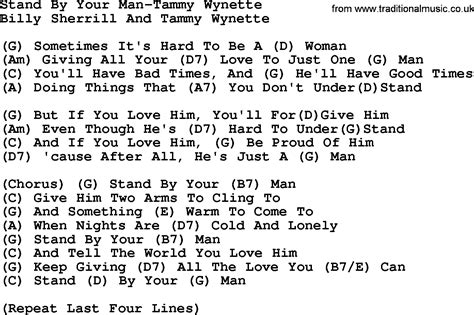 printable lyrics when i was your man country music stand by your man tammy wynette lyrics and