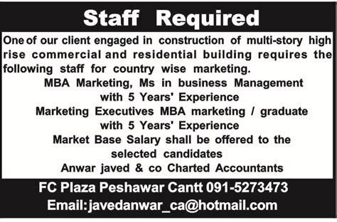 Mba In Construction Management In Pakistan by Marketing Executives In Anwar Javed Company 2018