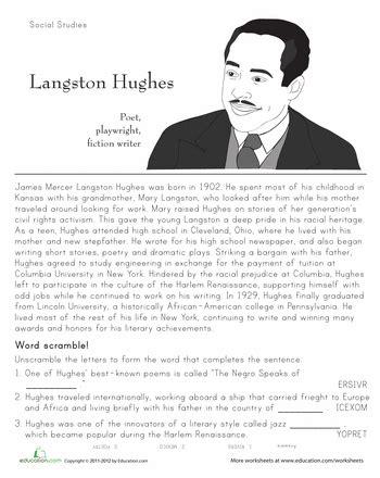 langston hughes biography worksheet langston hughes historical heroes worksheets black