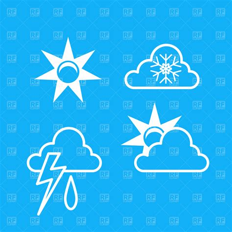 sun and lighting weather icons sun cloud and lightning royalty free