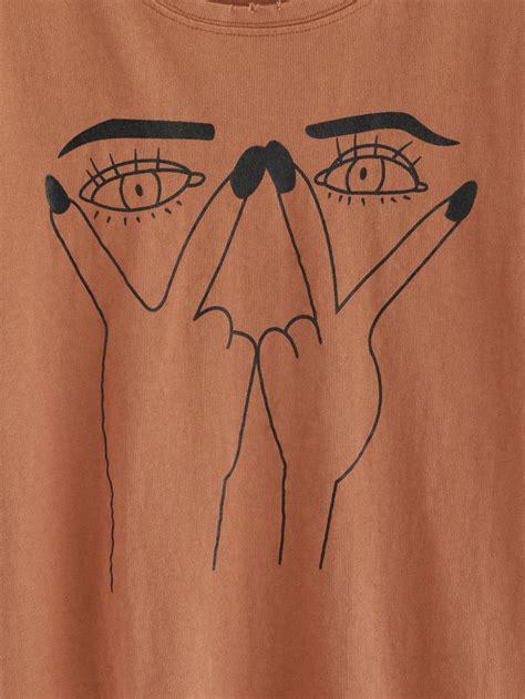 ripped t shirt pattern eye print ripped t shirtfor women romwe