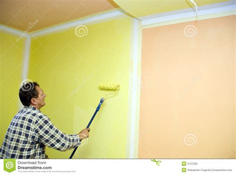 painting room in yellow royalty free stock photo image