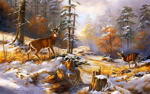 Wolf Wall Murals holz h 252 bsche deer early winter hintergrundbilder holz
