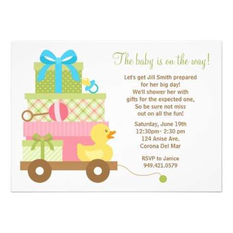 baby shower invitation wording for unisex baby shower invitation 5 quot x 7 quot invitation card zazzle