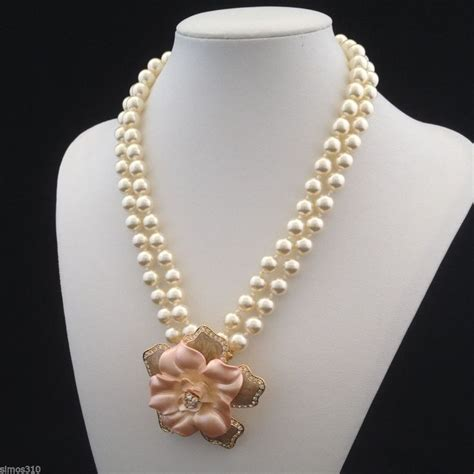 nolan miller signed flowering simulated pearl necklace