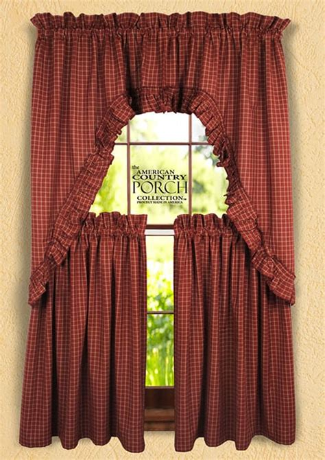 ruffled swag curtains wine teadyed reverse window pane ruffled window curtain swags