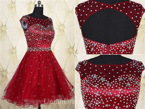 boat neck open back prom dress ball gown boat neck open back short red tulle beaded tutu