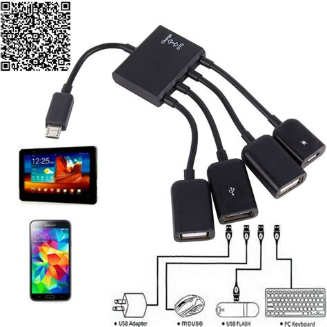 Usb Otg Tablet aliexpress buy otg hub cable connector spliter 4 port micro usb for smartphone