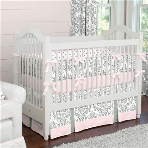 Pink And Gray Traditions Crib Bedding Girl Baby Bedding Classics Pink Parade 5 Crib Bedding Set
