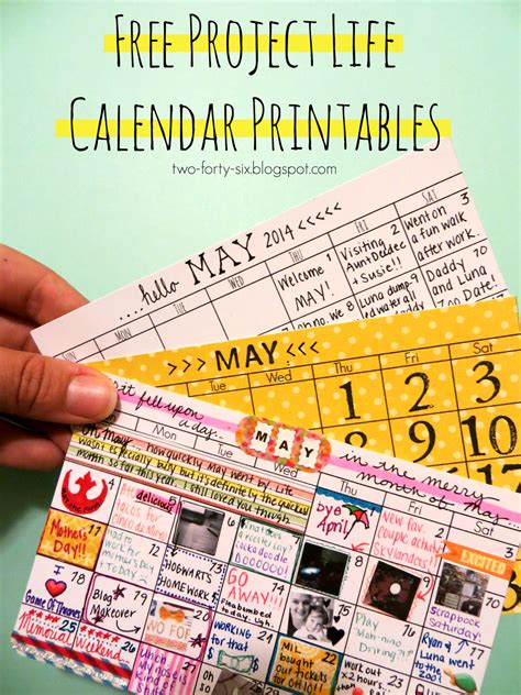 forty project life calendar printables