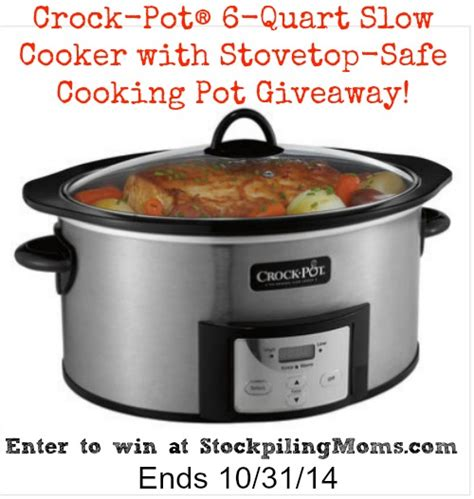 Crock Pot Giveaway - crock pot 174 6 quart slow cooker with stovetop safe cooking pot giveaway closed