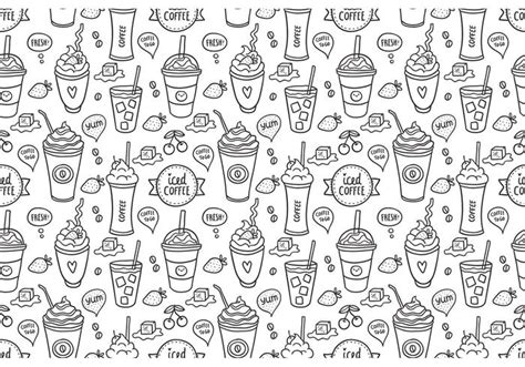 seamless pattern coffee free iced coffee seamless pattern vector download free
