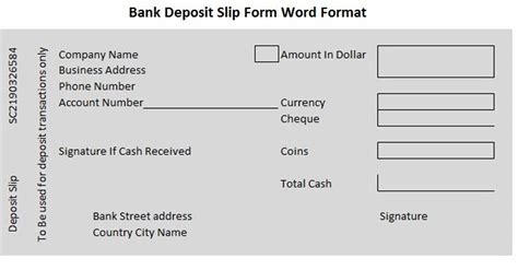 Bank Deposit Slip Form Word Format Wordtemplateinn Excel Project Management Templates For Bank Deposit Slip Template Word