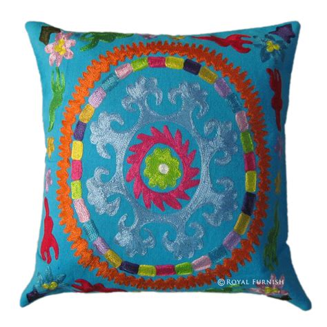 Embroidered Decorative Pillows by 16x16 Blue Indian Suzani Embroidered Decorative Accent