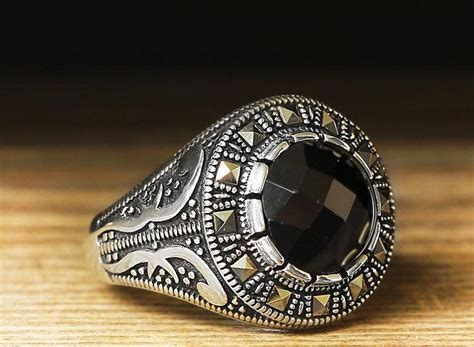 Cincin Chic 925 Sterling Silver Black Sapphire Gemstone Ring We 797 best images about s rings on gents