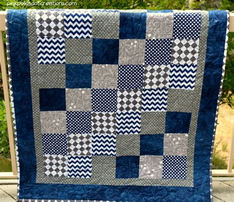 Boys Quilt by Baby Boy Quilt Pink Polka Dot Creations