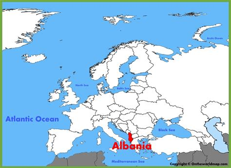 where is albania on the map albania location on the europe map