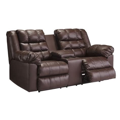 leather loveseat recliner with console ashley brolayne leather double reclining console loveseat