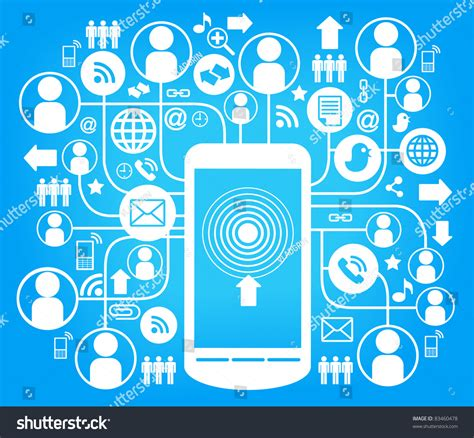 Social Network Search Social Network Communication In The Global Computer Networks Stock Vector