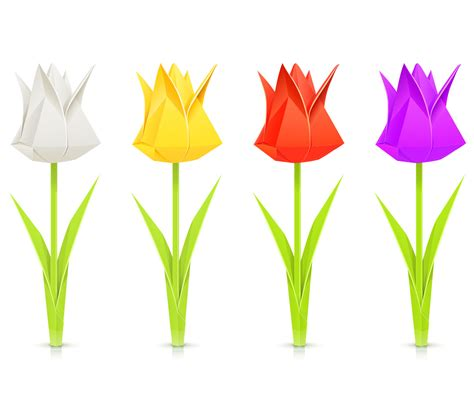 Origami Tulips Bouquet - origami diy origami tulip and stem by the