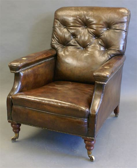 leather reading chair a large victorian leather reading chair 466940