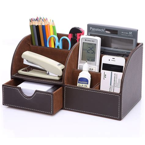 office supplies desk organizer creasive leather desktop storage box up cosmetic