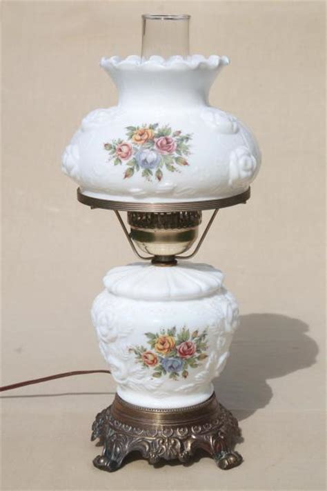 Replacement Shades For Chandeliers Vintage Fenton Milk Glass Lamp Puffy Rose W Roses