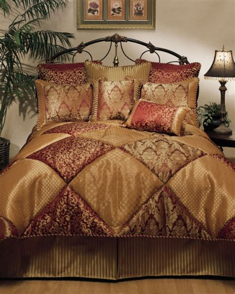 Gold King Comforter by 8pc Burgundy Gold Pieced Textured Comforter Set