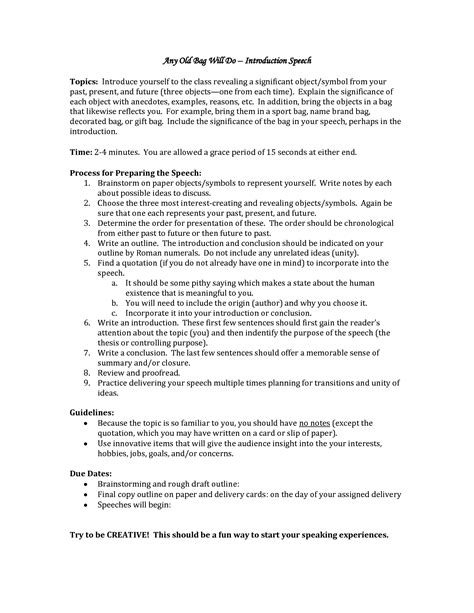 cover letter introducing yourself exles self introduction speech outline exle 7 self