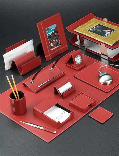 Red Leather Conference Table Sets And Accessories White Leather Desk Accessories