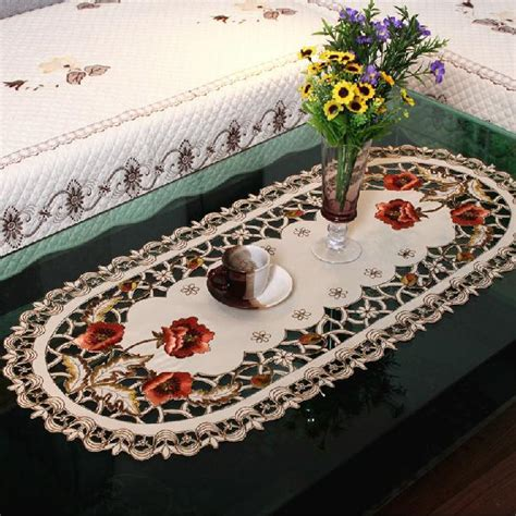 tablecloth for coffee table 40 85cm oval european embroidery table cloth tablecloths