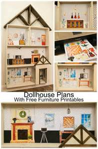 Kids diy free dollhouse building plans with a huge set of furniture