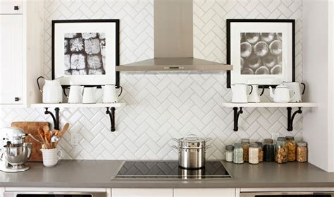 white herringbone tiles backsplash home decorating