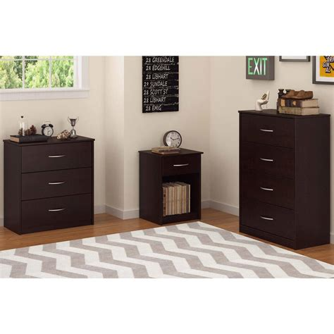 3 drawer dresser chest bedroom furniture black brown white