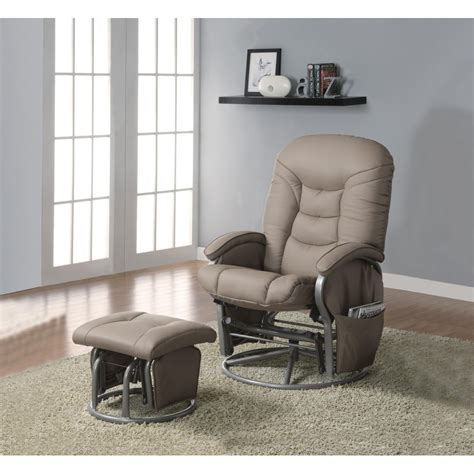 Glider Recliner Ottoman Recliners With Ottomans Casual Leatherette Glider Recliner With Matching Ottoman Beige