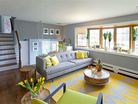 contemporary gray living room  chevron rug hgtv