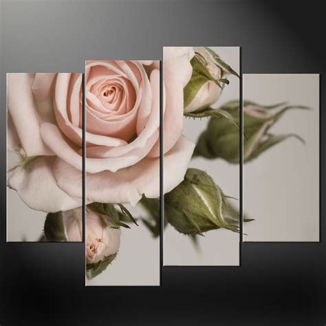 4 Pink Flower Wall D Cor Picture Print canvas print pictures high quality handmade free next day delivery