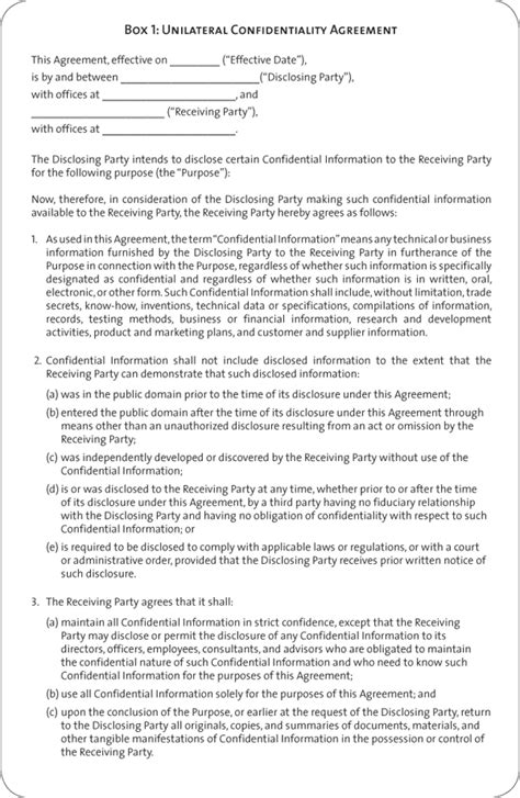 unilateral non disclosure agreement template unilateral agreement yalandan