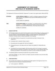 sale and purchase agreement template agreement of purchase and sale of business assets