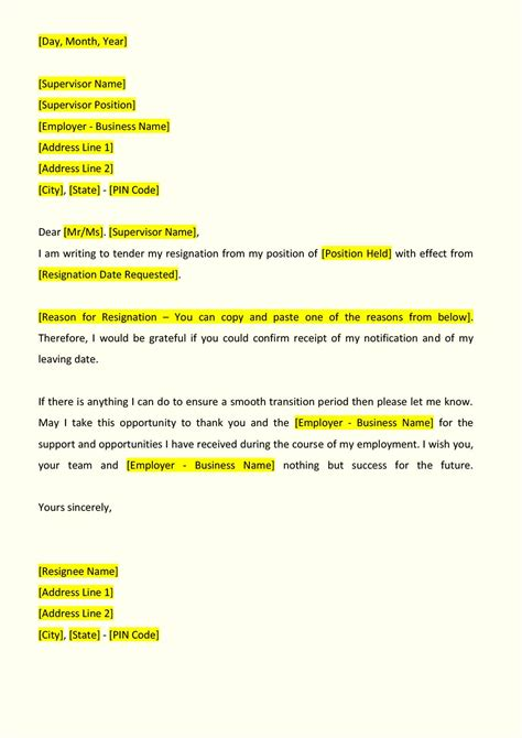 Resignation Letter Format For Finance resignation letter format indiafilings document center