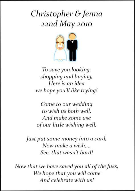 Wedding Registry Money For Honeymoon by 25 X Wedding Honeymoon Poem Cards For Your Invitations