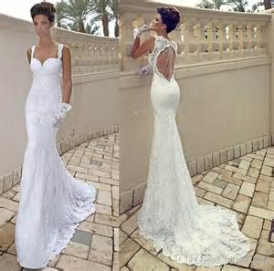 wedding dress lace open back vestido de noiva spaghetti sweetheart ivory lace open back mermaid sheath backless