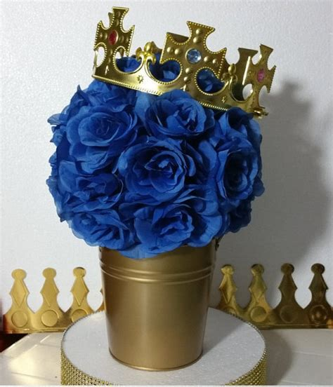 Flower Pail Royal Prince Baby Shower Table Centerpiece Boys Royal Baby Shower Centerpieces