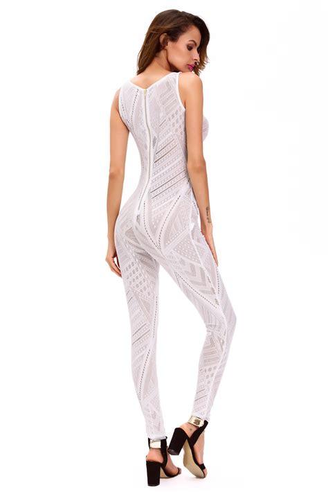 Sheer Jumpsuit cheap stylish white sheer determination mesh net jumpsuit
