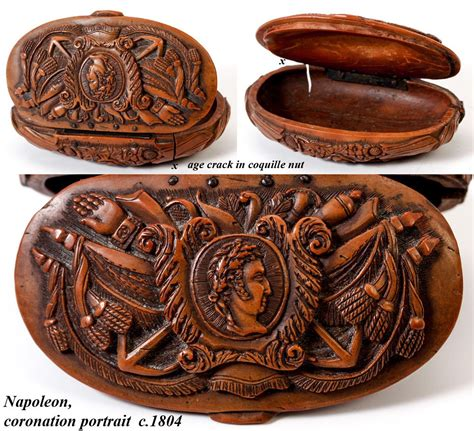 vintage items antique napoleon era french carved coquilla nut snuff box