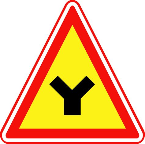 File:Korean Traffic sign (Y-shaped intersection).svg ... Y Intersection Sign