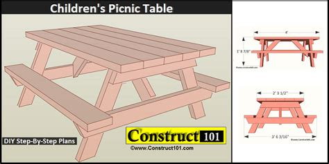 children s bench plans children s picnic table plans pdf download construct101