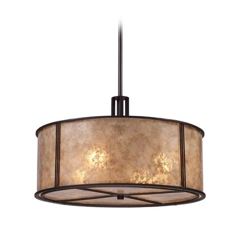 Drum Lighting Pendant Drum Pendant Light With Brown Mica Shade In Aged Bronze Finish 15032 4 Destination Lighting