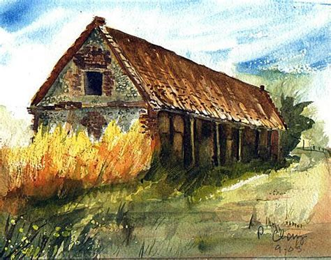 bob ross painting buildings derelict barn s watercolours
